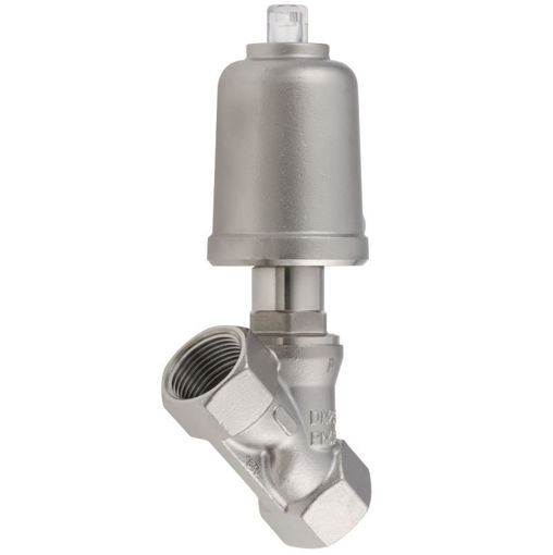 Picture of S<(>&<)>S Angle Seat Valve SS Body Closing Against Flow 20mm Max Working Pressure 13 bar 50mm Actuator